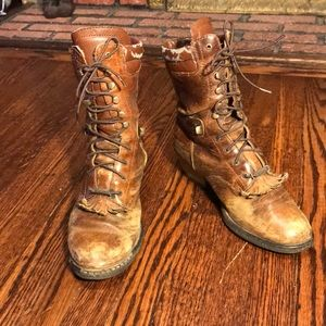 Vintage distressed Double H packer ankle boots